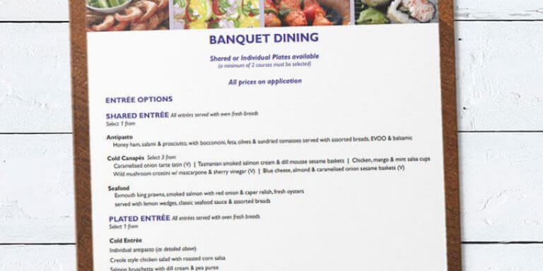 Cherry's banquet dining catering menu on clipboard